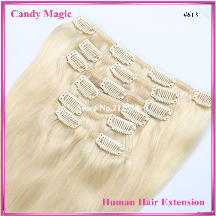 7A  Clip in Human Hair Extensions 120g/7pcs 16-28 Brazilian Straight Clip In Hair Extensions #1b,#2,#4,#6,#8,#24 #27,#613 <br><br>Aliexpress