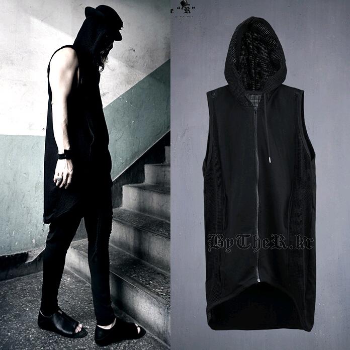 2015 New Arrival Fashion Harajuku Mens Hooded Mesh Vest Sleeveless Jacket Rock Cool Zipper Waistcoat Men Black chalecos hombre(China (Mainland))