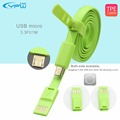 YFW 3 3ft Double side Micro USB Cable Noodle Data Line Data sync Charging Cable for