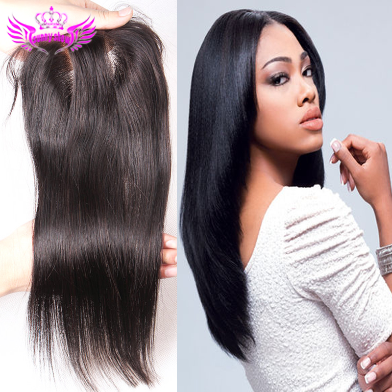 Grade 7A brazilian silk lace closure unprocessed virgin hair straight top base bleached knots middle 3 way free part 3 options