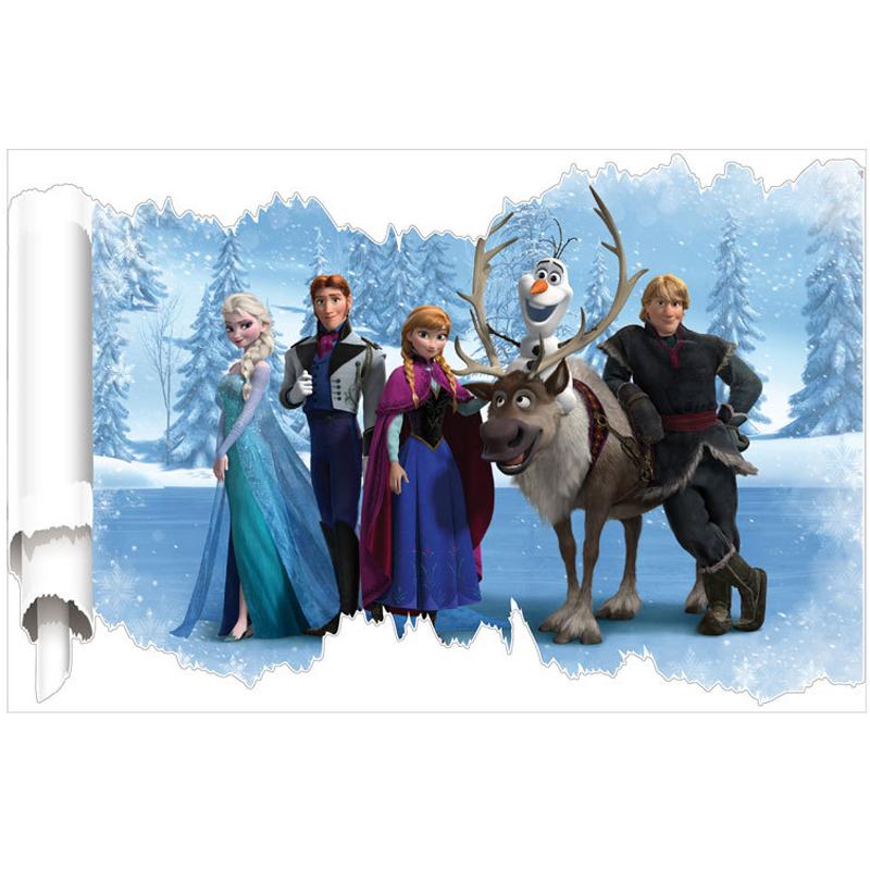 1 piece New Design Movie Princess Elsa Anna Wall Stickers cute cartton style Christmas Wall Sticker Free shipping!(China (Mainland))