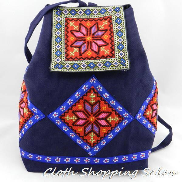 Free Shipping Ethnic Embroidery Bags Canvas School Bag Embroidered Backpack Cute Girl Canvas backpack Lover Shoulder Travel bag