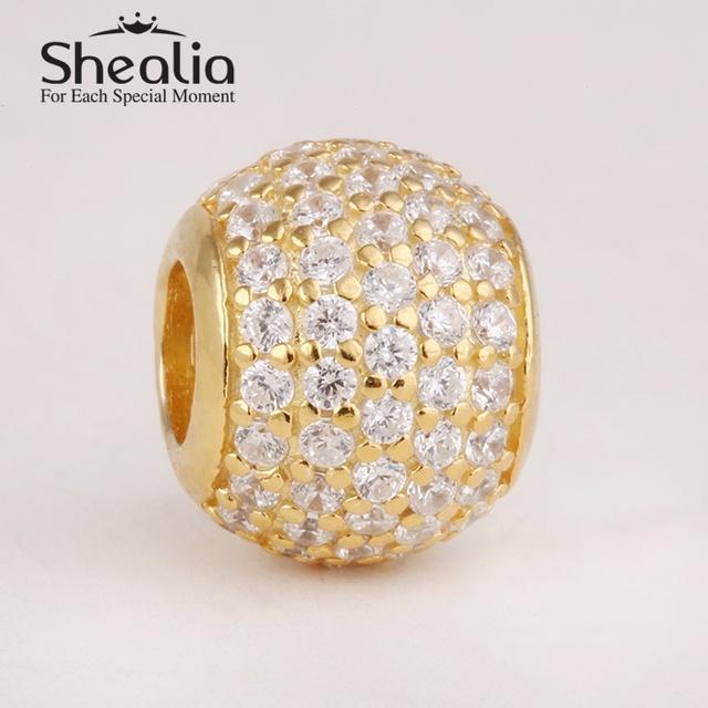 Новые подлинные серебро 925 с 14 К позолоченные проложить шар подвески с ааа цирконий для женщин браслеты diy Er443