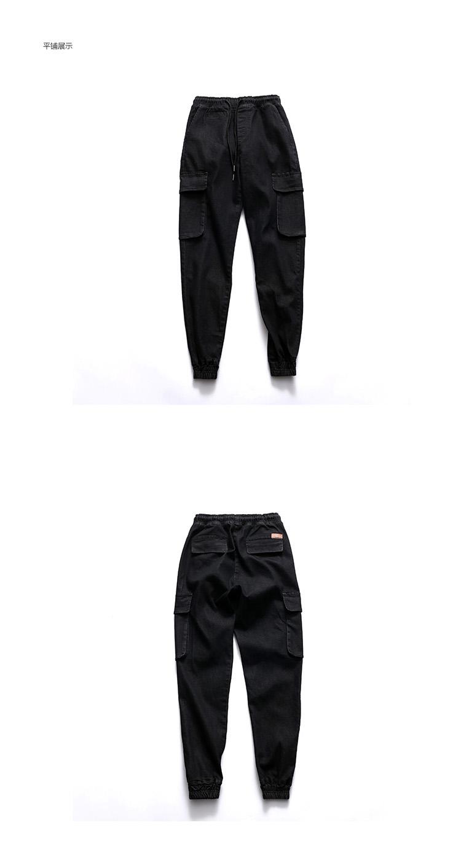 Скидки на Японский Harajuku ретро весенние мужчин джинсы карманы упругие грузовые брюки джинсовые брюки мужчины Хип-хоп Бегунов Случайный Луч брюки TC131