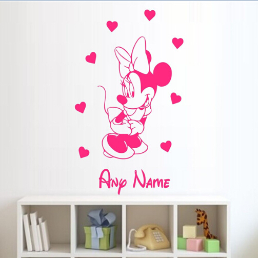 minnie mouse personalised wall sticker name vinyl wall sticker wall