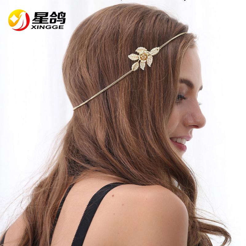 2016 New Beach Multi Layer Metal Gold Plated Head Chain Hair Jewelry Flower Leaves Bindi Hair Accesories Western Headband AF052(China (Mainland))