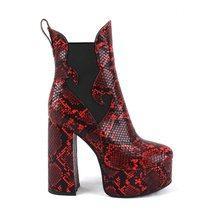 2019 Yeni Kadın yarım çizmeler Platformu PU Deri Çizme Kırmızı Yılan Derisi Bayanlar Ayakkabı Topuklu Çizmeler Sonbahar Kış Kadın Yüksek Topuk ayakkabı(China)