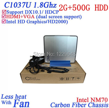 Promotional 2014 Hotel mini pcs with Intel Celeron 1037U dual core 1.8Ghz windows linux 2G RAM 500G HDD HD Graphics  Thin PC