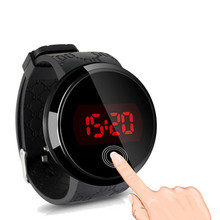 2015 summer new round touch screen LED electronic watch fashion student jelly table men and women lovers table(China (Mainland))