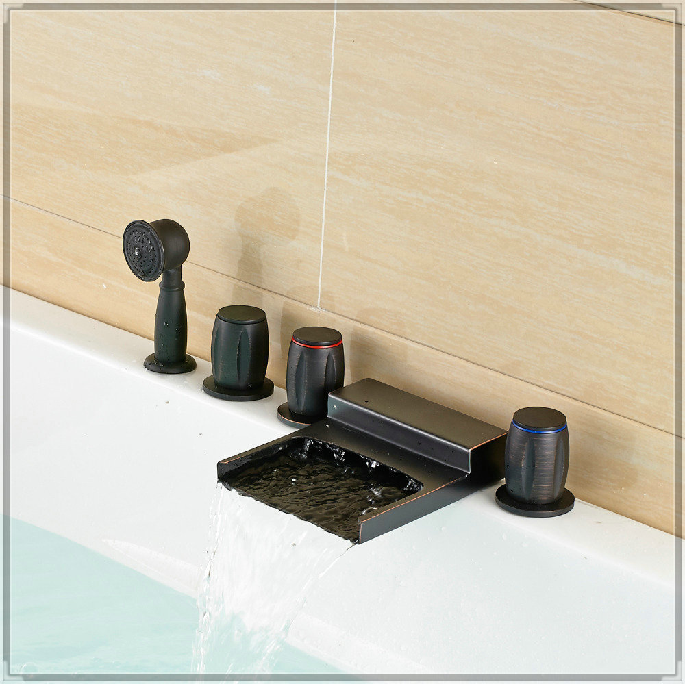 bathroom widespread waterfall bathtub faucet oil rubbed bronze 3 mixer