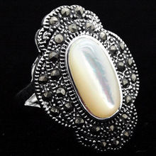 24*16mm Vintage Natural White Shell 925Silver Marcasite Ring Size 7/8/9/10(China (Mainland))
