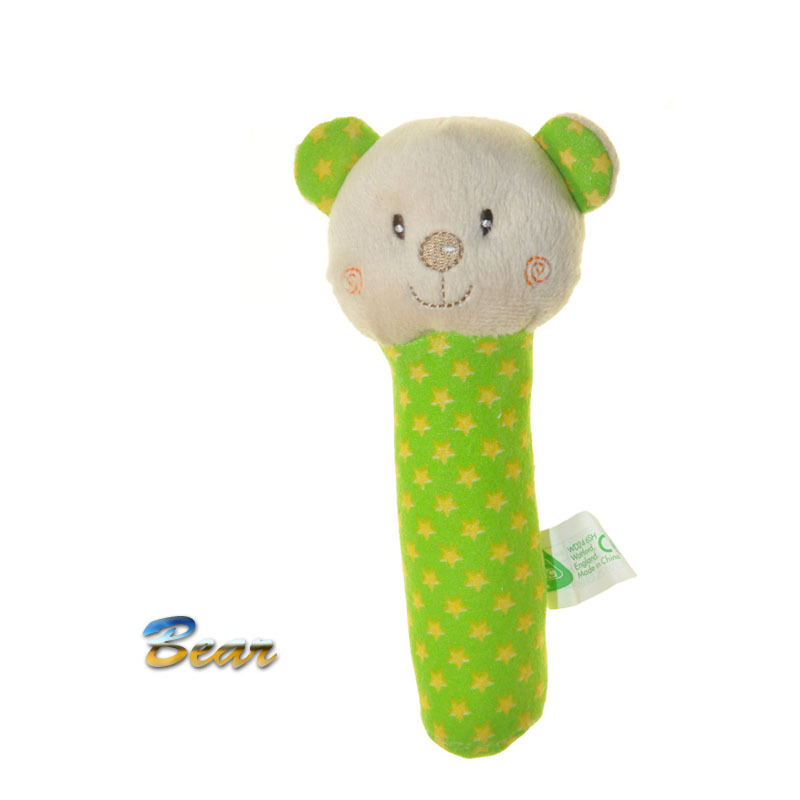 Free shipping 2014 New Arrival 1pcs/lot ELC Baby Cartoon Bear Long Handle Handhold Rattle Placate Plush Toys(China (Mainland))