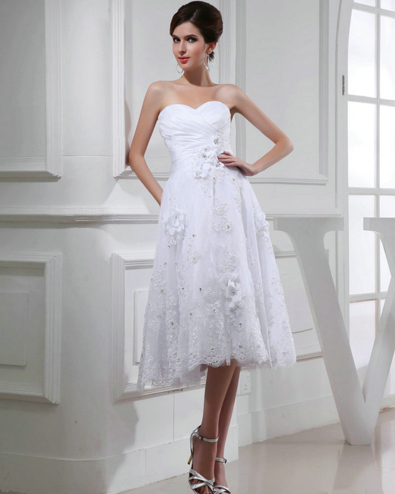 Real model white organza buttons applique lace wedding for Knee length fitted wedding dresses