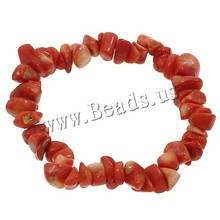 Free shipping! 1 strand red Nuggets Natural Coral Bracelet 2016 new(China (Mainland))