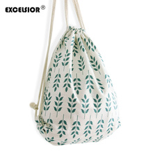 EXCELSIOR Women Casual Drawstring Bag Sackpack Flower Printed Backpack Canvas Travel Bag Beach Bag Girls Ladies School Fresh Bag(China (Mainland))
