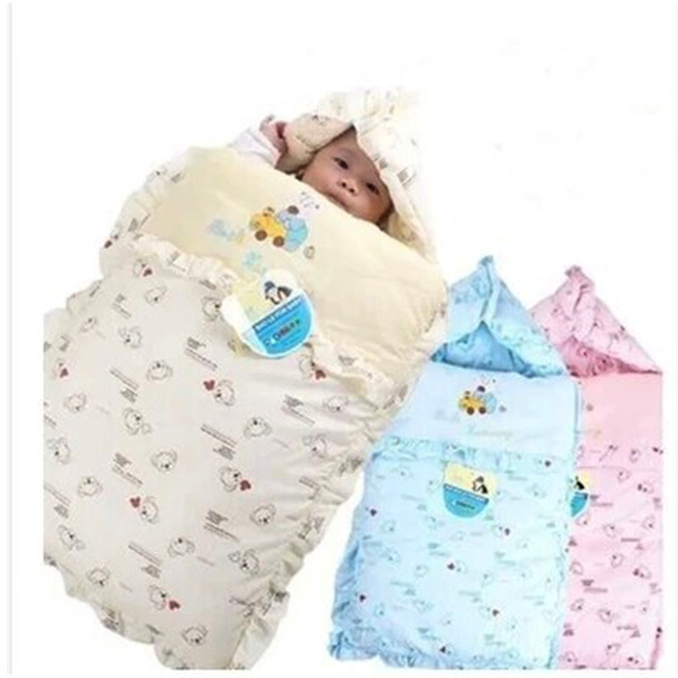 Autumn Winter Pure 100% Cotton Padded Baby Sleeping Bags Newborn Blanket Kits Hoodie Cute Sleepsacks Free Shipping #M00020(China (Mainland))