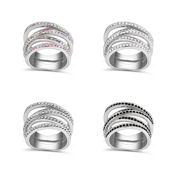 Summer Style Original Swarovski Elements Crystal Rings for Women Vintage Sterling Silver CZ Diamond Jewelry Anel Hot Design(China (Mainland))