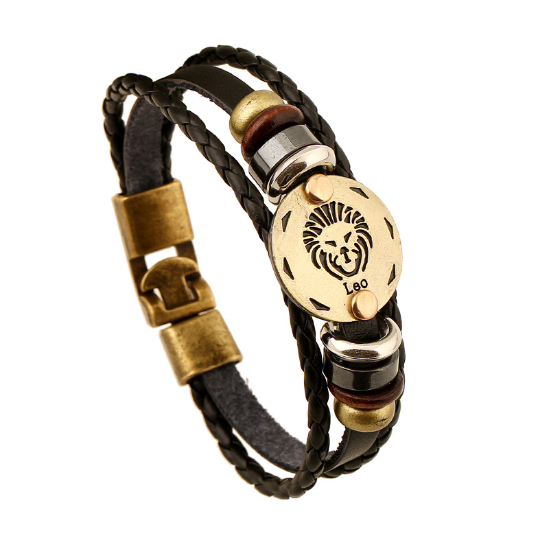 Leather knitted Bracelet European American fashion jewelry lover gift layered star sign leo bracelet free ship lovers wrist band(China (Mainland))