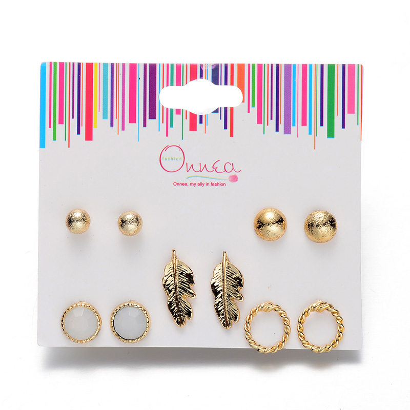 Wal-Mart Supplier 5 Pairs/Pack Mix Glod Plated Leaf Circle Round Ball Fashion Stud Earring Set for Mother's Day(China (Mainland))