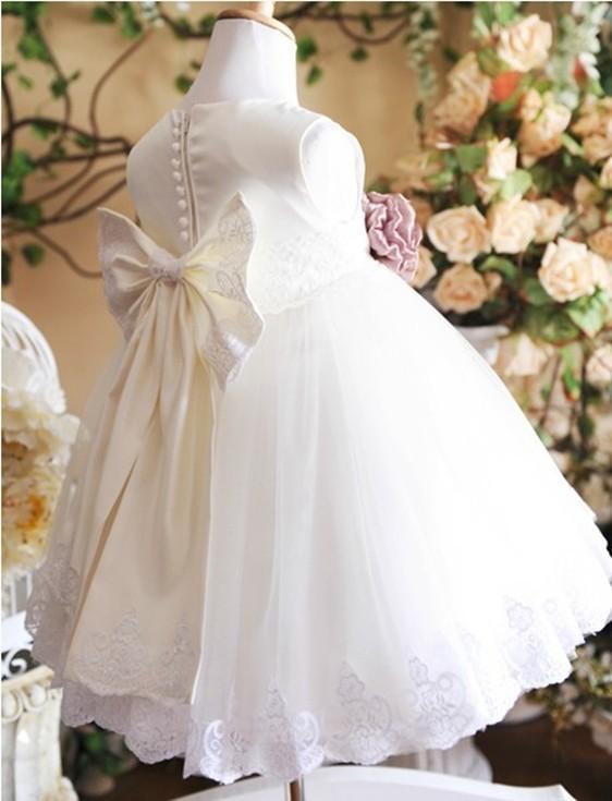 Скидки на ДЕТСКИЕ WOW Белый Детская Одежда Девушки Одеваются для Wedding1 Год Рождения Крещение Платья для Новорожденного-10 Т Платья Infantis 8001