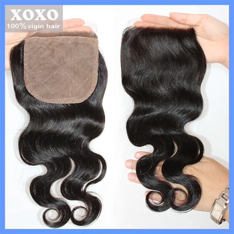 "Фотография Silk Base lace closure Peruvian Virgin Hair Body Wave 100% Human Hair,4X4"",Free style,Cheap price Free Shipping"