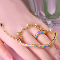 Dubai Jewelry Sets Enamel Esmaltes Bracelets Ring Lobster Clasp Round Gold Balls Pulseira Colorful Anneau Braut