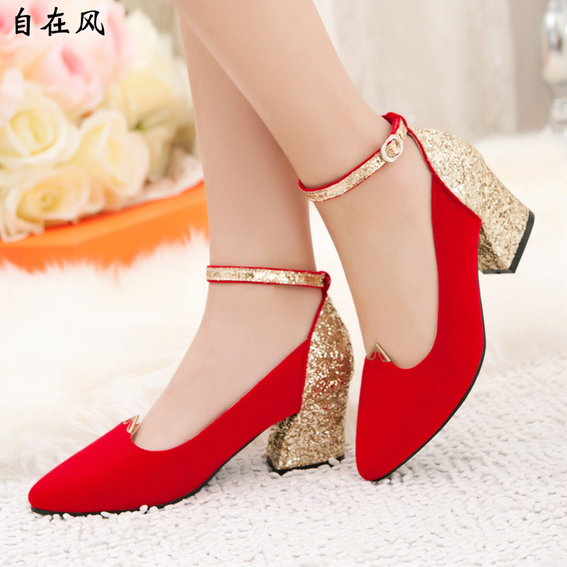 Summer Style 2015 Luxury Leather Wedding Shoes Gold Red ...