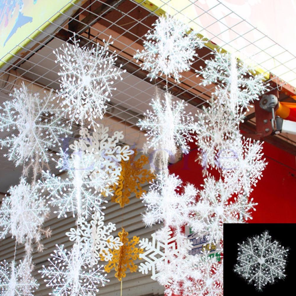 6Pcs Classic White Snowflake Ornaments Christmas Holiday Party Home Decor New Free shipping