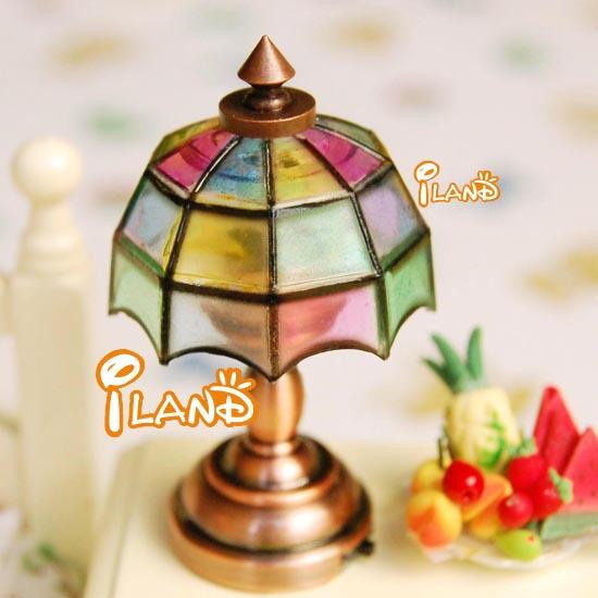 1/12 Miniature Dollhouse Bedside Lamp Colorful Table Light LED classic toys(China (Mainland))