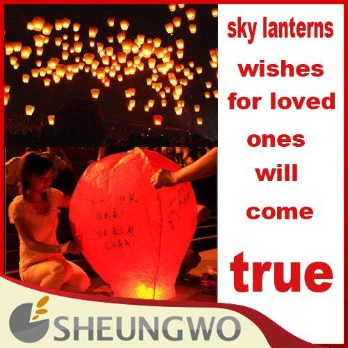 Direct Marketing flying paper sky lanterns Manufacturer selling flying paper lanterns in sky 100pcs/lots Free shipping(China (Mainland))