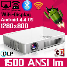 3D 1500ANSI HD 1080P Android Wifi DLNA Miracast DLP 2D to 3D HDMI VGA USB SD Handy Pocket LED Mini Projector beamer for Iphone(China (Mainland))