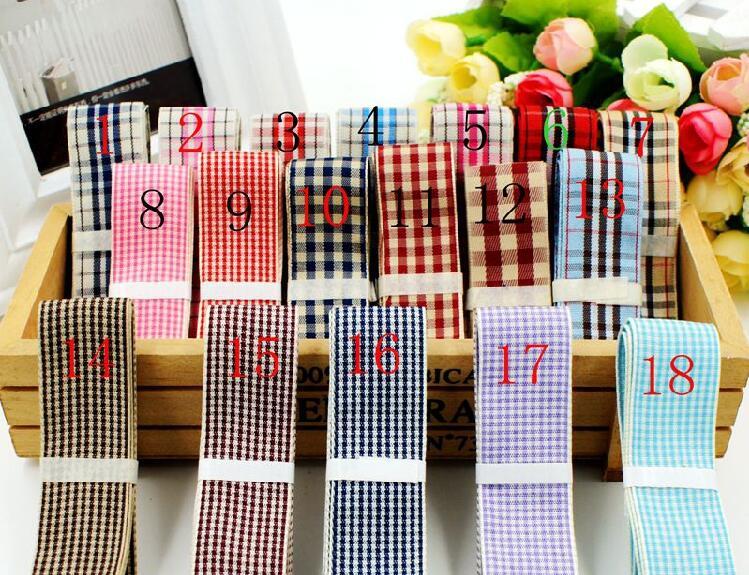 50Yards/Roll Tartan plaided ribbon 1'' 25mm Scotish Ribbon hairbow gift wrapping garment ribbon accessory Bows Appliques(China (Mainland))