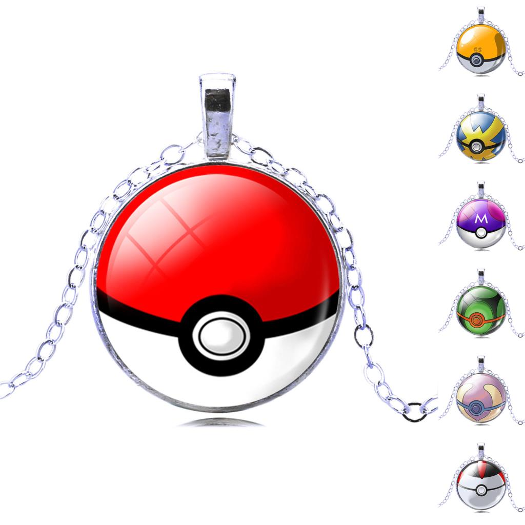 2016 Fashion Gift Silver Plated Chain Glass Cabochon Pokemon Ball Pendants & Necklaces Collares Pokeball Necklaces Jewelry Gift(China (Mainland))
