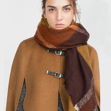 za Brand Winter 2016 Tartan Scarf Plaid Scarf New Designer Unisex Acrylic blankets Shawls Women's big size Scarves