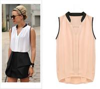 2015 Exclusive women's blouses sexy sleeveless chiffon ladies white and black blouses