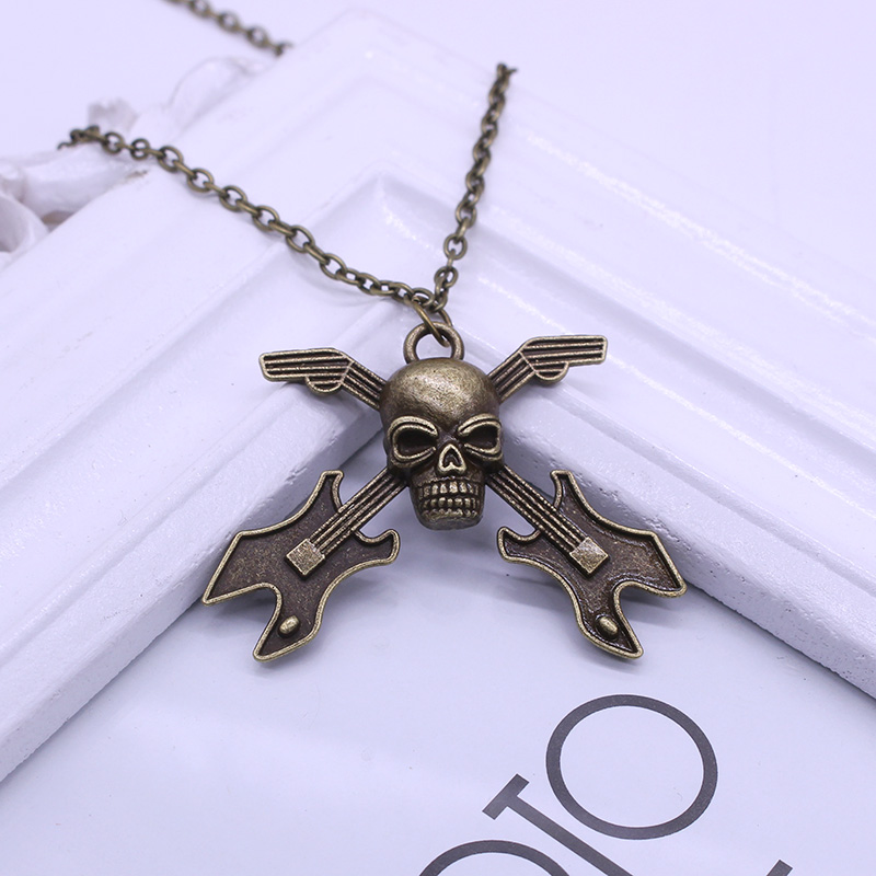 2016 Hot-Europe And America Retro Skull Guitar Instrument Long Necklace Sweater Chain Factory Direct-X091(China (Mainland))