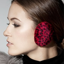 Kenmont Free Shipping Women Girl Lady Winter Red Leopard Striped Earmuffs Earflap Ear Warmer without Hair Band KM-3928,S Size(China (Mainland))
