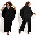 2016 Chiffon Elegant Jumpsuit Rompers Women Sexy V Neck White Black Cape Poncho Jumpsuit Plus Size