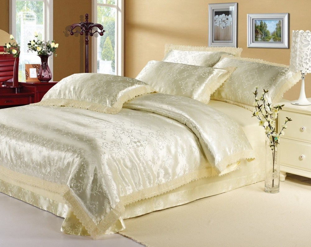 Luxury Classic Europe Beige White Pink Jacquard Satin
