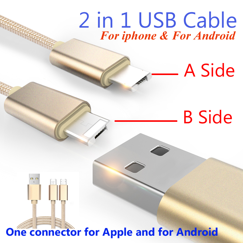 Colorful Micro USB Cable 8Pin 2 in 1 Sync Data Charging USB Cable for iPhone 5 6s plus IOS 9 Charger Cable For Samsung S4 S5 S6(China (Mainland))