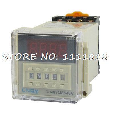 AC 220V DPDT 8P 0.01S-9999H Timer Delay DIN Rail Time Relay DH48S-2Z w Socket<br><br>Aliexpress