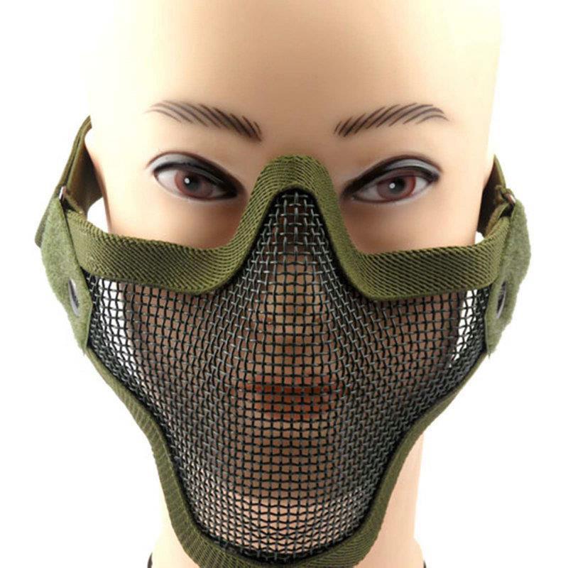 Military Airsoft CS War Game Shooting Half Face Guard Mesh Mask Protective Adjustable Hunting Paintball Mask Black Sand Green(China (Mainland))