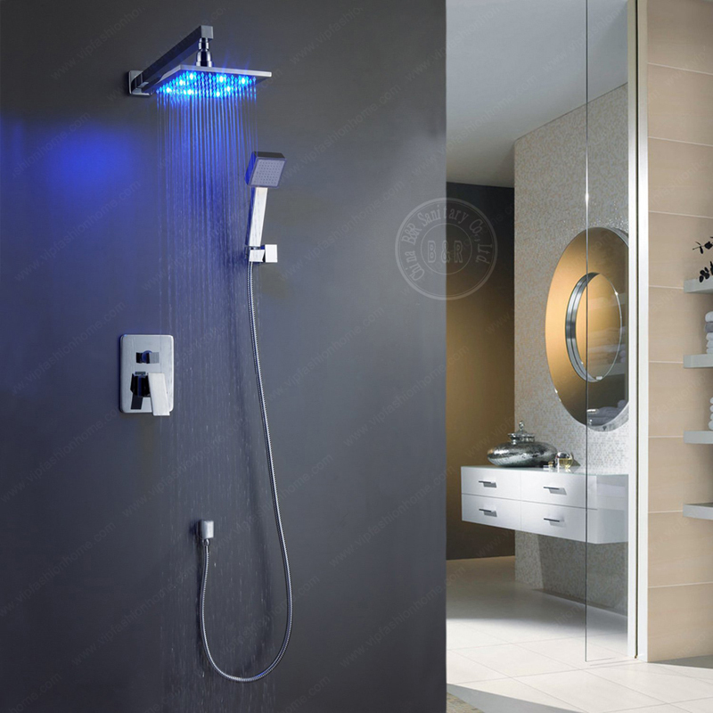 8-10-12-16 Inch LED brass bathroom rainfall led shower faucet mixer tap set copper head home improvement - becola Official Store store