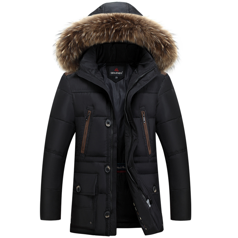 2015 Parka Men Winter Down Jackets Coats For Man Male Fur Collar Thicking Long Duck Down