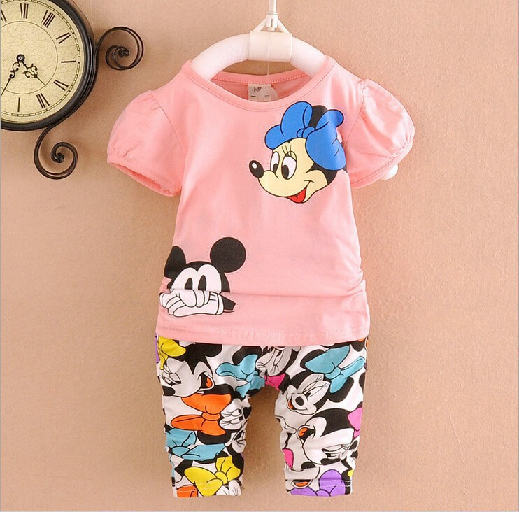 hot sale summer baby fashion boys girls clothing set kids cartoon micke short sleeve t-shirt+print pants 2 sets baby suit(China (Mainland))