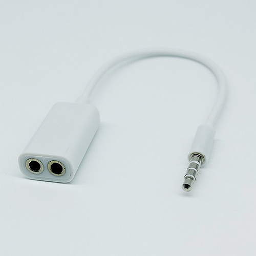 White Universal 3 5mm 1 Male to 2 Female Audio Headphone Splitter Adpater Cable