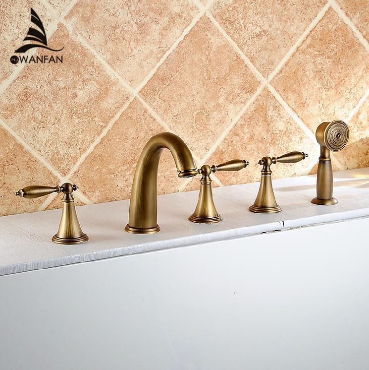 Good Quality Deck Mounted 5 Holes Bath Tub Mixer Faucet Antique Brass Widespread 5pcs Bathtub Faucet Set AST1147(China (Mainland))