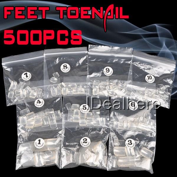 500pcs Transparent False Feet Toenail Toe Nail Art Acrylic False Toe Nails Makeup Manicure Tips Free Shipping(China (Mainland))