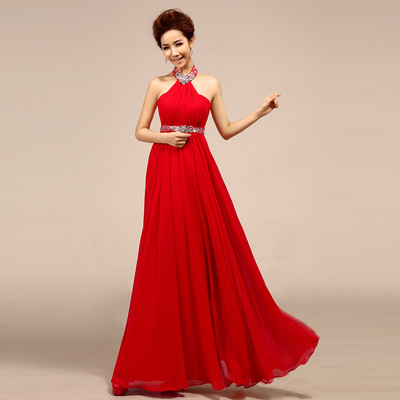 Halter neck formal dresses red prom dresses - Dressing modellen ...