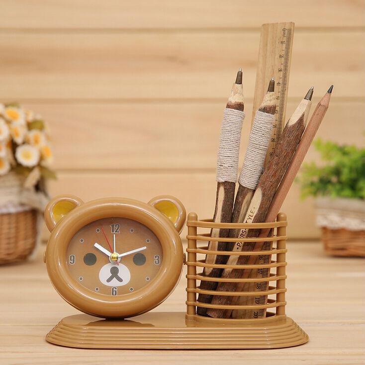 Happy Bear Pen Case Desktop Alarm Clock Kids Table Cartoon Alarm Clock 1159(China (Mainland))